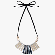 Buy John Lewis Resin Fan Ribbon Necklace, Grey/Rose Online at johnlewis.com