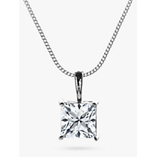Buy Nina Breddal White Gold Cubic Zirconia Pendant Necklace, Silver Online at johnlewis.com