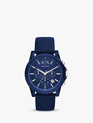Armani Exchange Men's Chronograph Date Silicone Strap Watch
