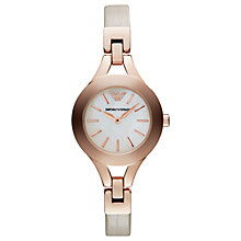 Buy Emporio Armani AR7354 Women's Leather Strap Watch, Nude/White Online at johnlewis.com