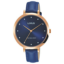 Buy Lorus RG230MX9 Women's Leather Strap Watch, Blue Online at johnlewis.com