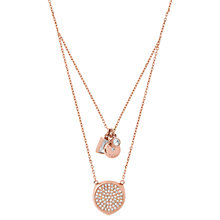 Buy Michael Kors V Drop Cubic Zirconia Charm Pendant Necklace, Rose Gold Online at johnlewis.com