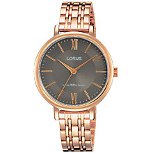 Buy Lorus RG270MX9 Women's Bracelet Strap Watch, Rose Gold/Grey Online at johnlewis.com
