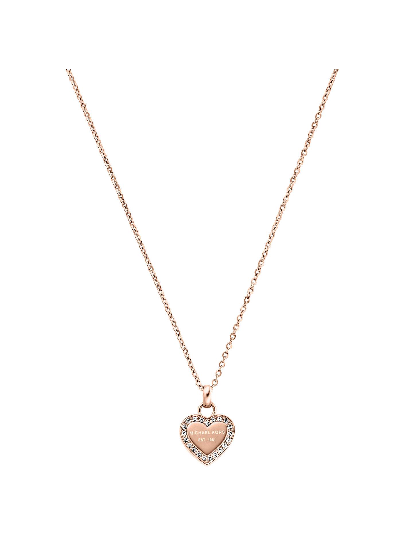 Michael Kors Heart Pendant Necklace Rose Gold Online At Johnlewis