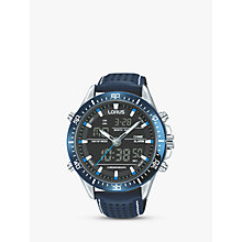 Buy Lorus RW643AX9 Analogue/Digital Chronograph Sports Leather Strap Men's Watch, Blue/Black Online at johnlewis.com
