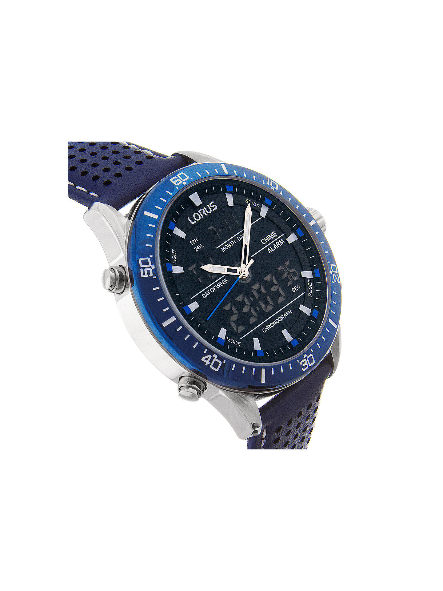 19fd1d302 ... Buy Lorus RW643AX9 Men's Analogue/Digital Chronograph Sports Leather Strap  Watch, Blue/Black