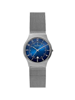 Skagen 233XLTTN Men's Mesh Bracelet Strap Watch, Silver/Blue
