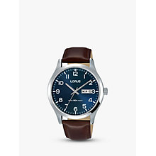 Buy Lorus RXN49DX9 Men's Leather Strap Dress Watch, Brown/Blue Online at johnlewis.com