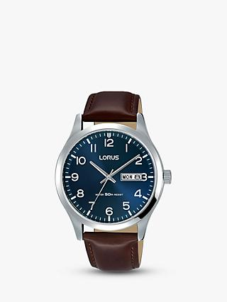 Lorus RXN49DX9 Men's Leather Strap Dress Watch, Brown/Blue