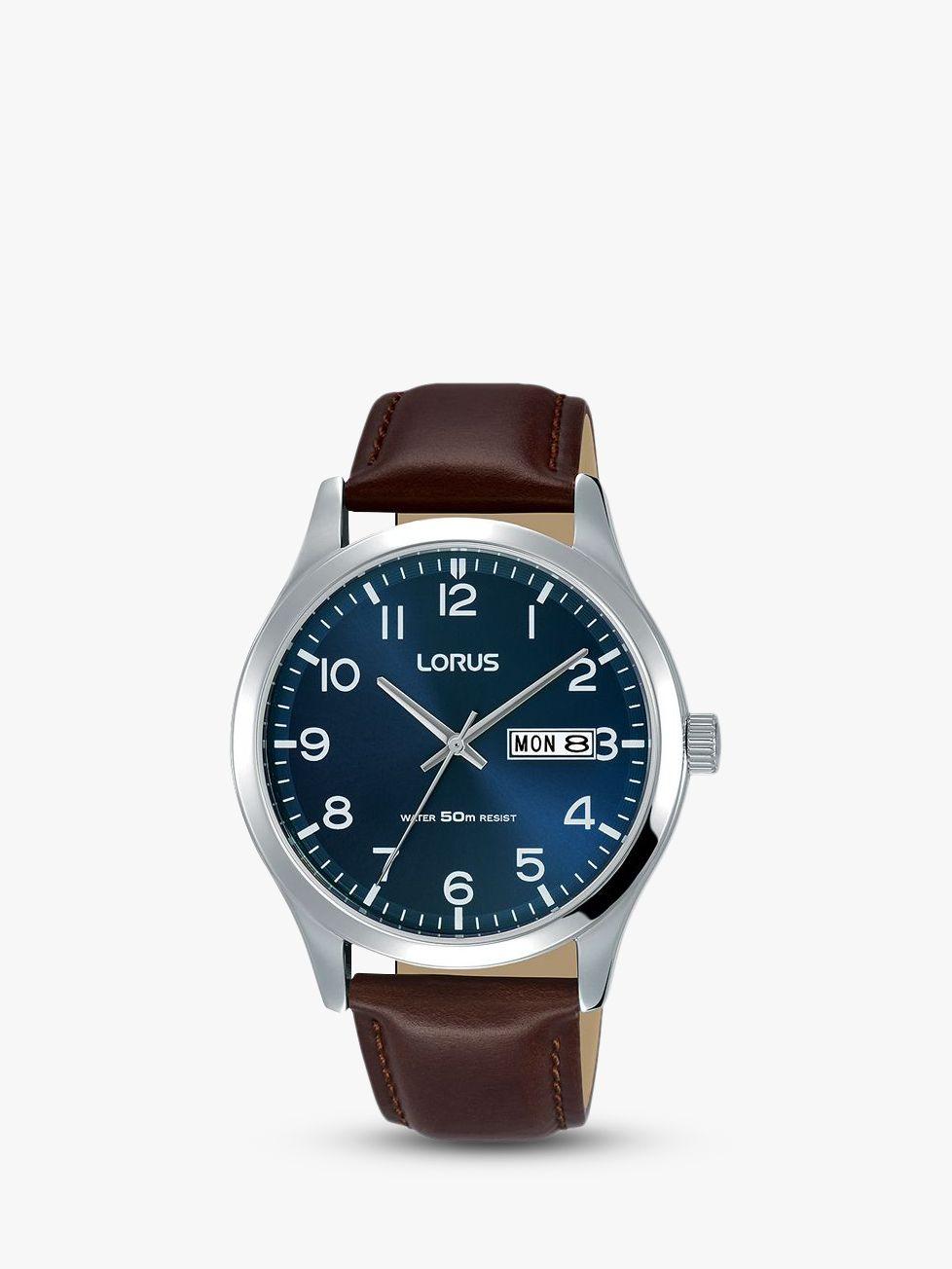 Lorus Lorus RXN49DX9 Men's Leather Strap Dress Watch, Brown/Blue