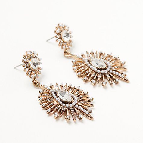 Buy John Lewis Baroque Faux Pearl and Crystal Drop Earrings, Antique Gold Online at johnlewis.com