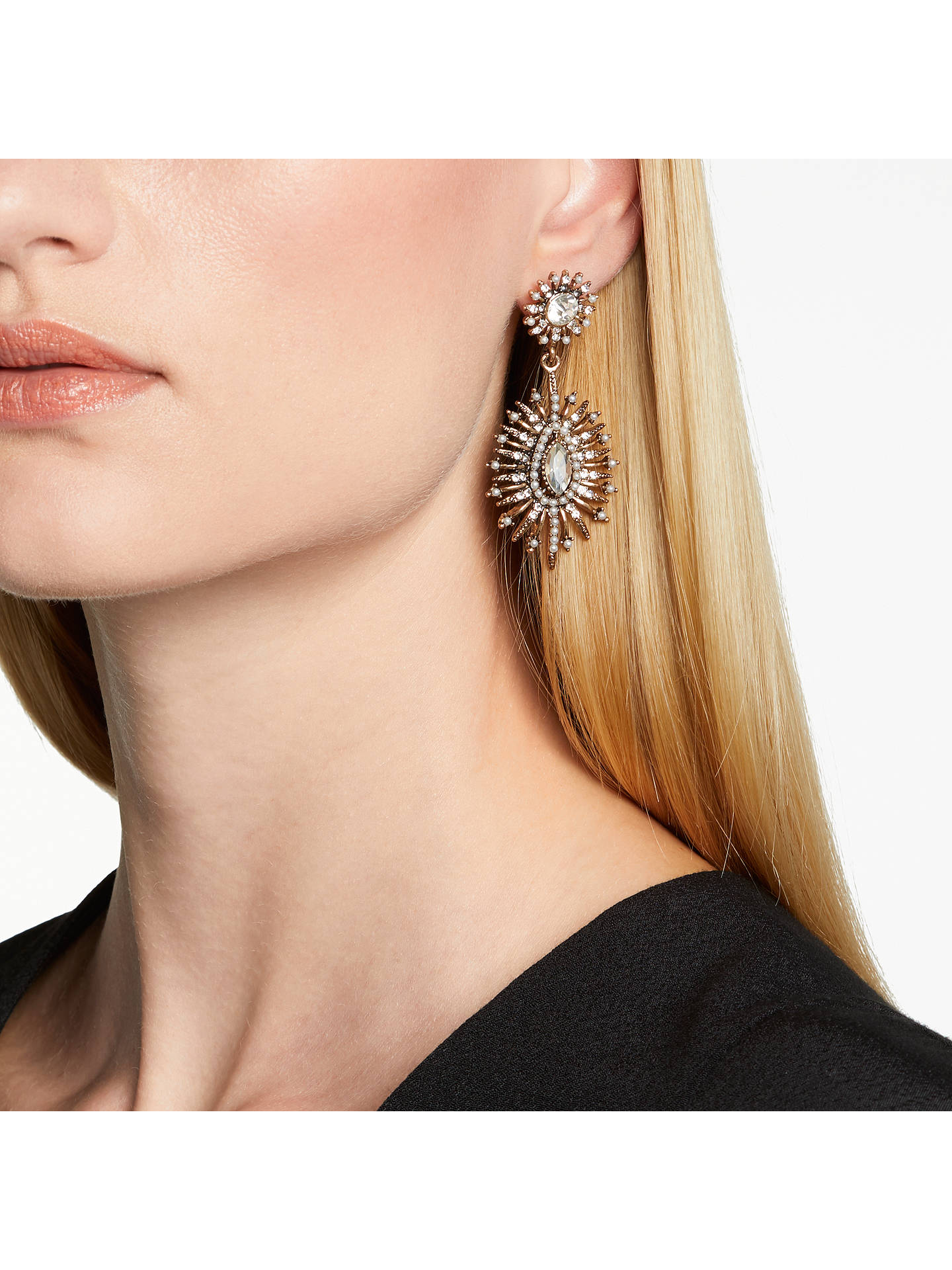 BuyJohn Lewis Baroque Faux Pearl and Crystal Drop Earrings, Antique Gold Online at johnlewis.com