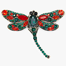 Buy John Lewis Dragonfly Brooch, Emerald/Ruby Online at johnlewis.com