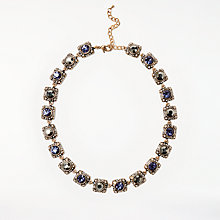 Buy John Lewis Square Glass Crystal Collar Necklace, Antique Gold/Blue Online at johnlewis.com