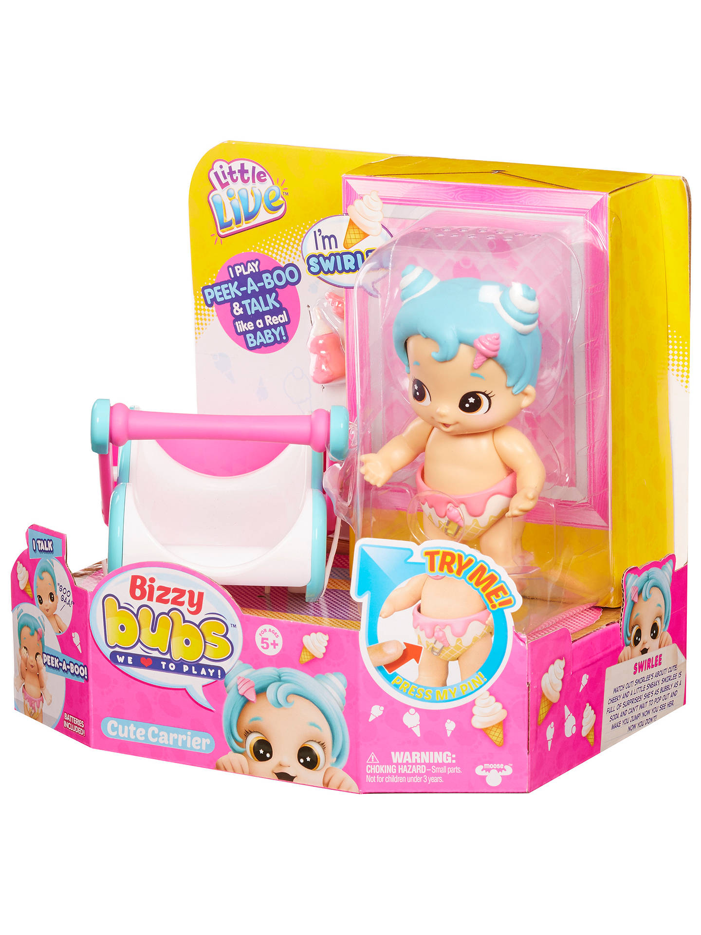 Little Live Pets Bizzy Bubs Cute Carrier with Peek-A-Boo Baby Swirlee