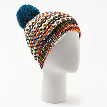 Buy John Lewis Multi Stitch Pom Beanie, Orange Online at johnlewis.com
