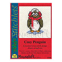 Buy Mouseloft Cosy Penguin Card Counted Cross Stitch Kit Online at johnlewis.com