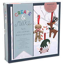 Buy Create and Make Felt Christmas Decorations, Pack of 3 Online at johnlewis.com