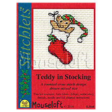 Buy Mouseloft Teddy In Stocking Card Counted Cross Stitch Kit, Multi Online at johnlewis.com