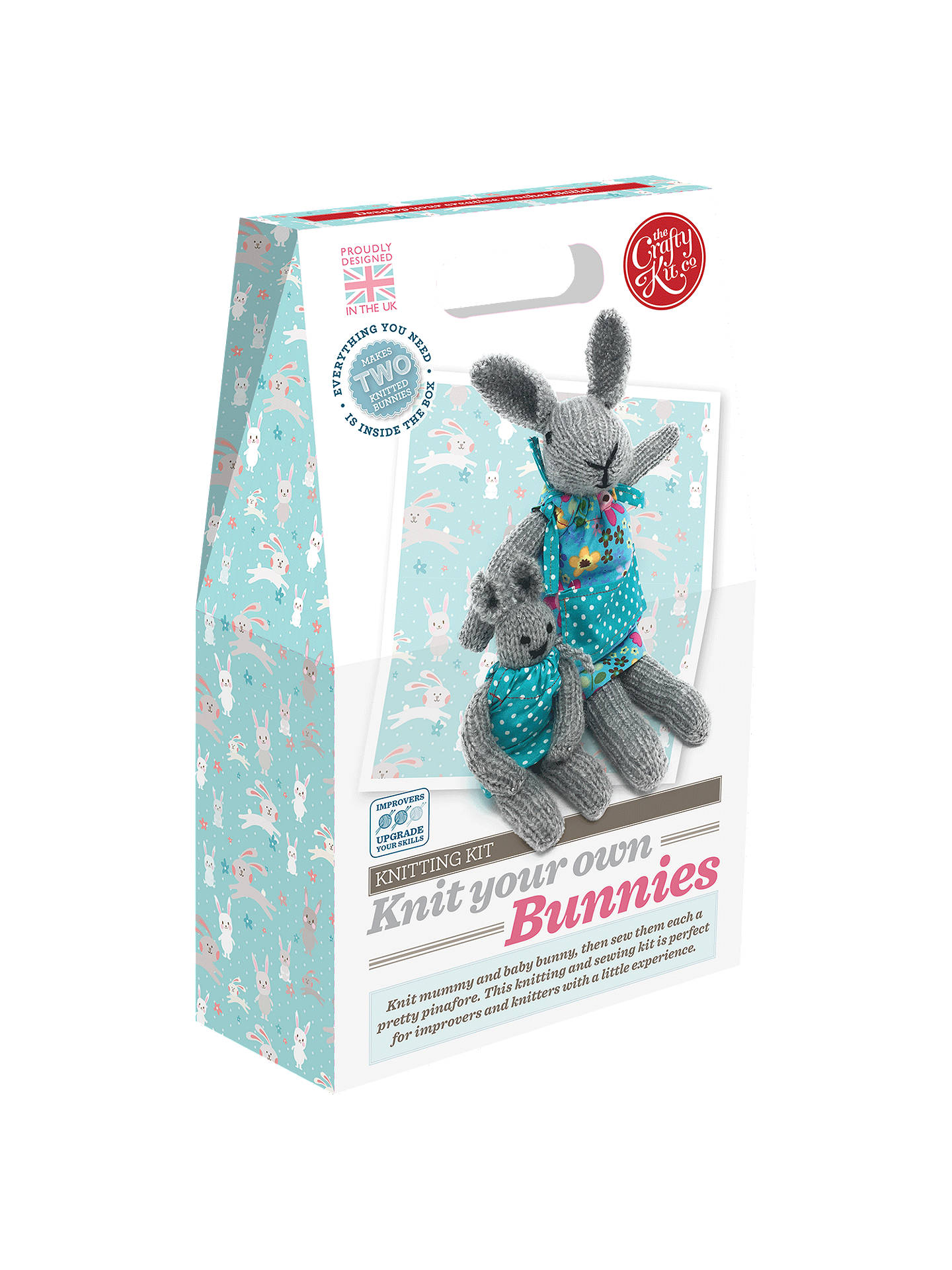 TEDDY BEAR KNITTING KIT BOYS MENS Learn to Knit your own BLUE TEDDY GIFT BOX Inc