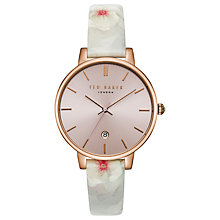 Buy Ted Baker Women's Kate Leather Strap Watch, Mist/Rose Gold Online at johnlewis.com