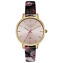 Buy Ted Baker Women's Kate Leather Strap Watch, Black/Pink Online at johnlewis.com