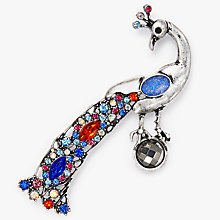 Buy John Lewis Peacock Dimante Brooch, Silver/Multi Online at johnlewis.com