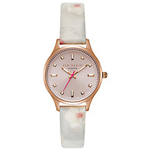 Buy Ted Baker TE50001002 Women's Zoe Floral Leather Strap Watch, Multi/Pink Online at johnlewis.com