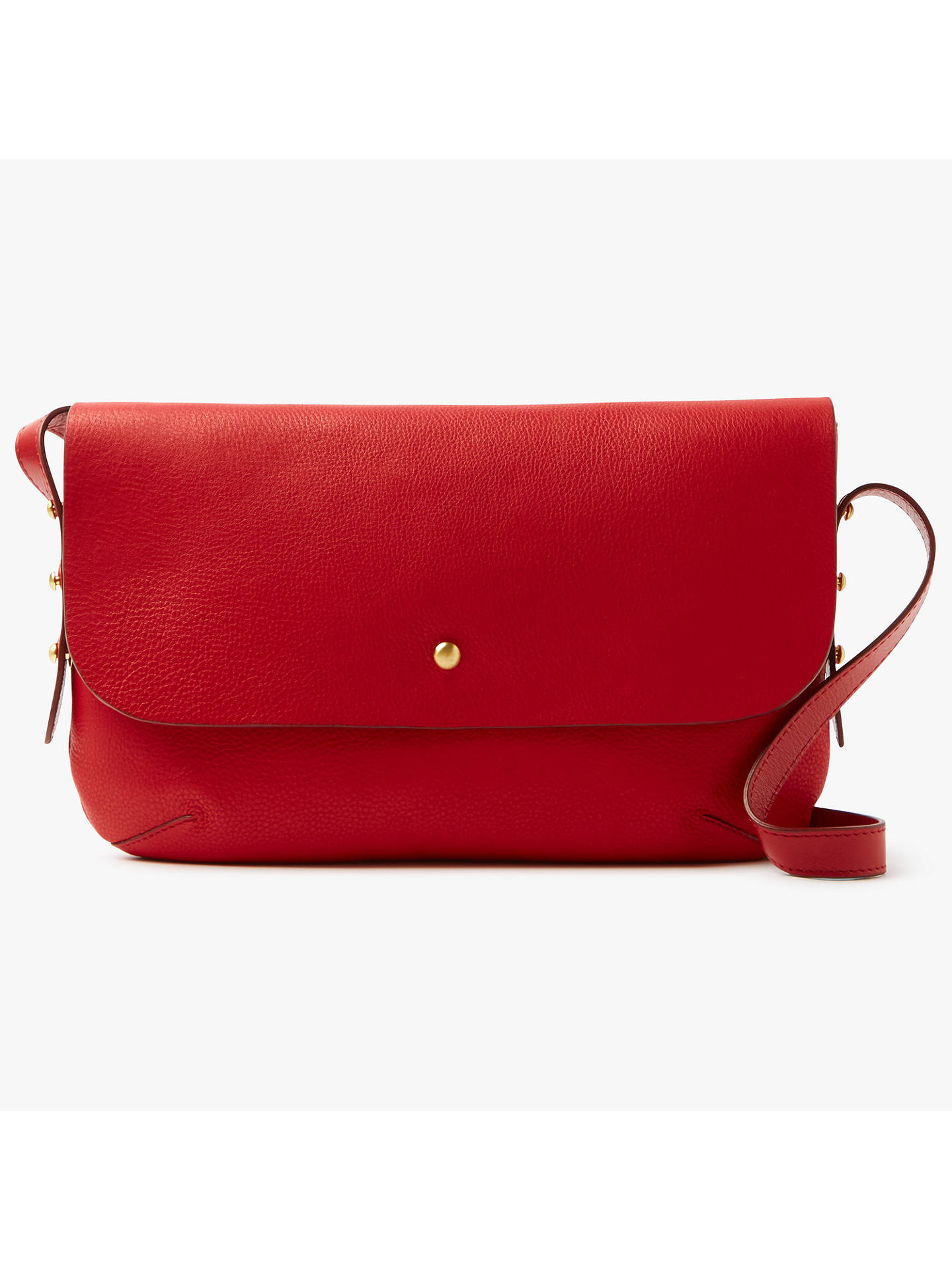 John Lewis Partners Rhea Leather Shoulder Bag Red Online At Johnlewis