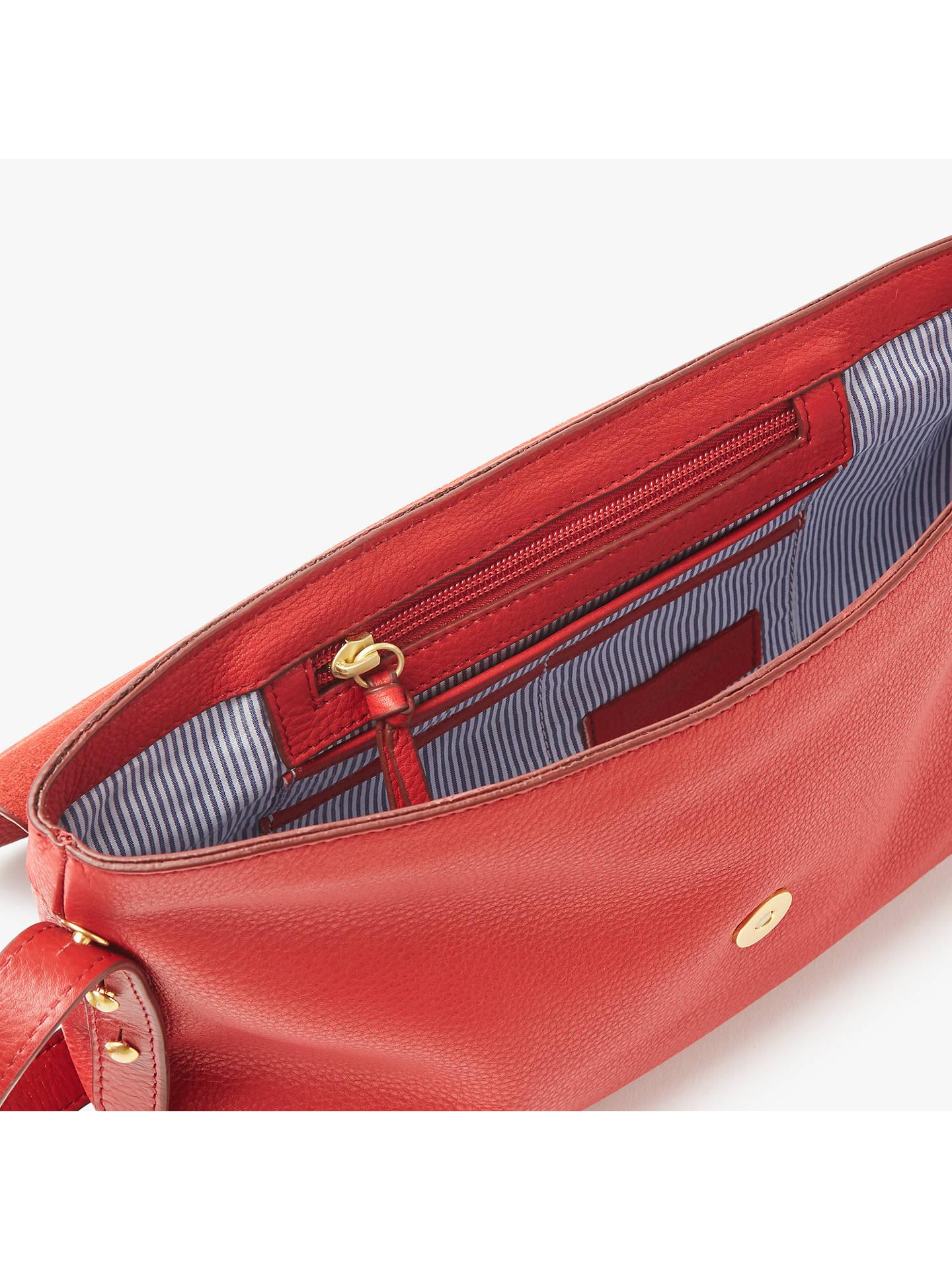 John Lewis Partners Rhea Leather Shoulder Bag Red Online At Johnlewis