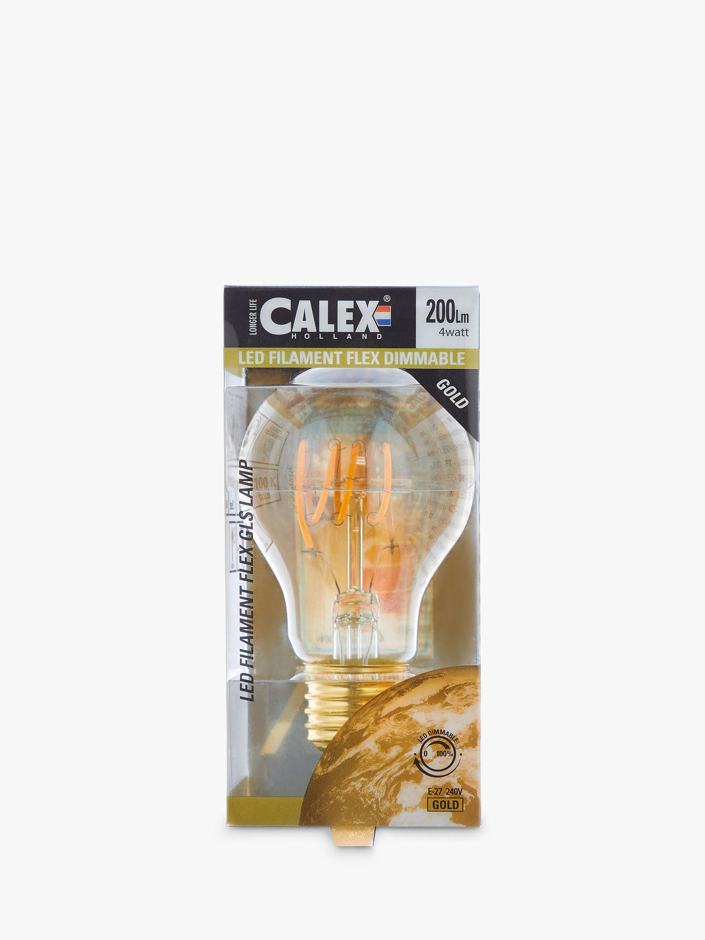 BuyCalex 4W ES LED Classic Filament Flex Bulb, Clear / Gold, Dimmable Online at johnlewis.com