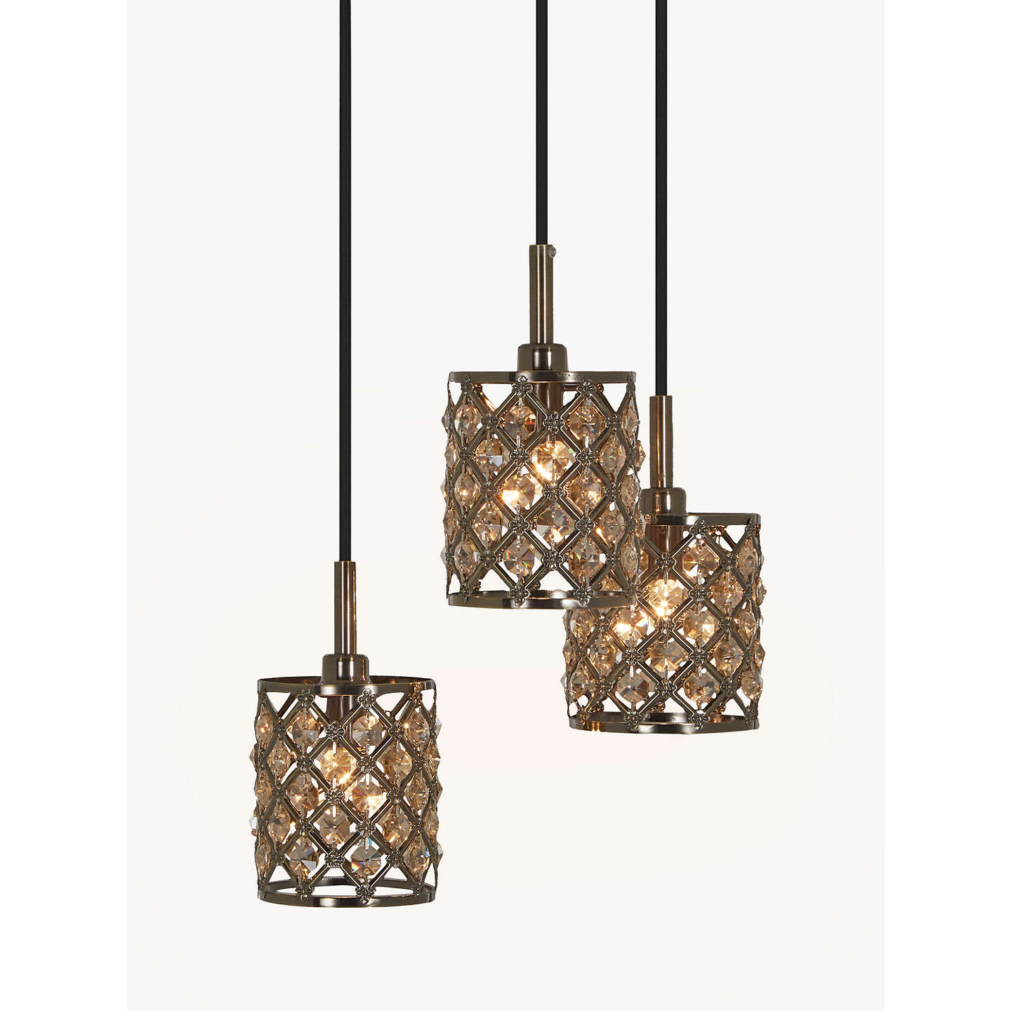 John lewis gigi 3 pendant crystal cluster ceiling light antique buyjohn lewis gigi 3 pendant crystal cluster ceiling light antique brass online at johnlewis mozeypictures Image collections
