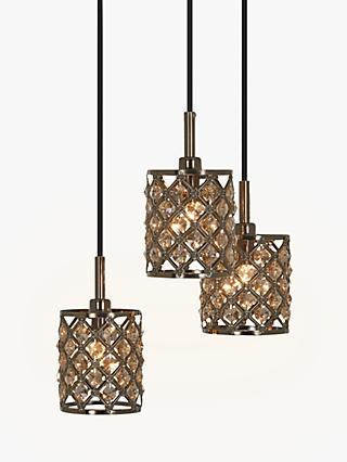 John Lewis & Partners Gigi 3 Pendant Crystal Cluster Ceiling Light, Antique Brass