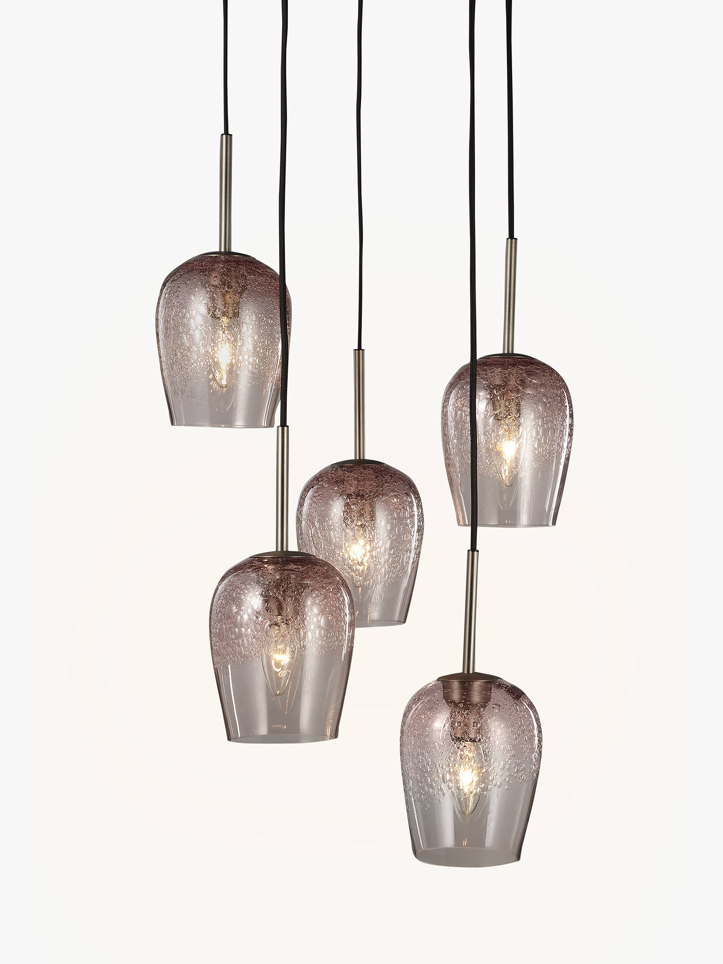 buy online bb629 b0d8b John Lewis & Partners Olmedo 5 Pendant Bubble Glass Cluster Ceiling Light,  Pink