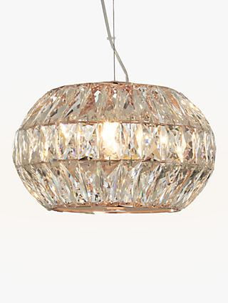 John Lewis & Partners Kelsey Small Crystal Ceiling Light, Copper