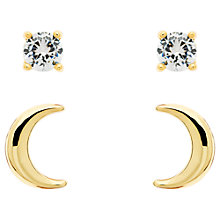 Buy Melissa Odabash Moon and Crystal Double Stud Earrings Online at johnlewis.com