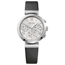 Buy HUGO BOSS 1502395 Women's Classic Chronograph Leather Strap Watch, Black/Silver Online at johnlewis.com