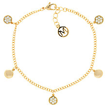 Buy Melissa Odabash Glass Crystal Drop Disc Bracelet, Gold Online at johnlewis.com