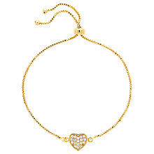 Buy Melissa Odabash Glass Crystal Heart Bracelet, Gold Online at johnlewis.com