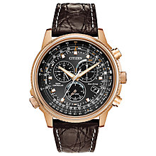 Buy Citizen Men's Eco-Drive Chronograph Date Leather Strap Watch Online at johnlewis.com