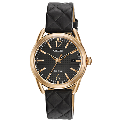 Citizen FE6083-13E Women's Modern Strap Date Leather Strap Watch, Black