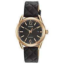 Buy Citizen FE6083-13E Women's Modern Strap Date Leather Strap Watch, Black Online at johnlewis.com