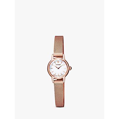 Citizen EG2992-51A Women's Petite Elegance Bracelet Strap Watch, Rose Gold/White