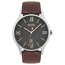 Buy HUGO BOSS Governor Men's Leather Strap Watch Online at johnlewis.com