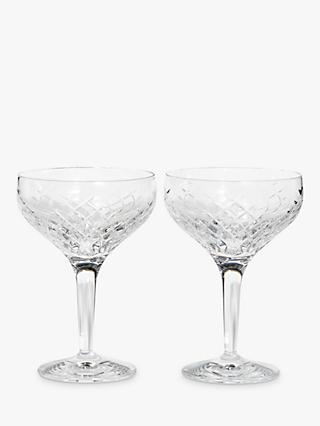 Soho Home Barwell Crystal Cut Champagne Coupe Glasses, 250ml, Set of 2