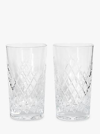 Soho Home Barwell Crystal Cut Highball Glasses, 300ml, Set of 2