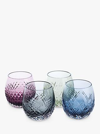 Royal Brierley Barra Cut Glass Tumblers, 310ml, Assorted, Set of 4