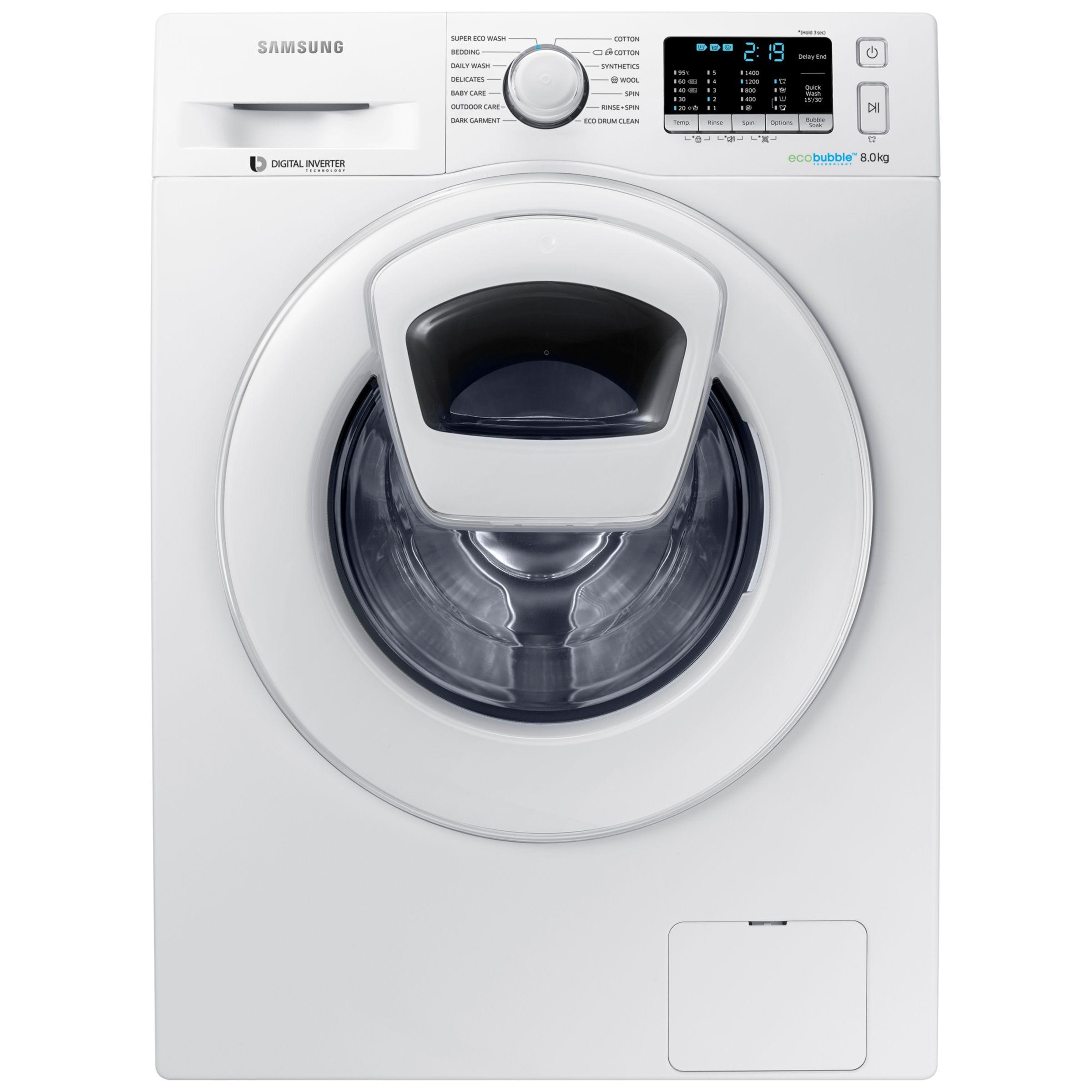 Samsung Samsung AddWash WW80K5410WW/EU Washing Machine, 8kg Load, A+++ Energy Rating, 1400rpm Spin, White
