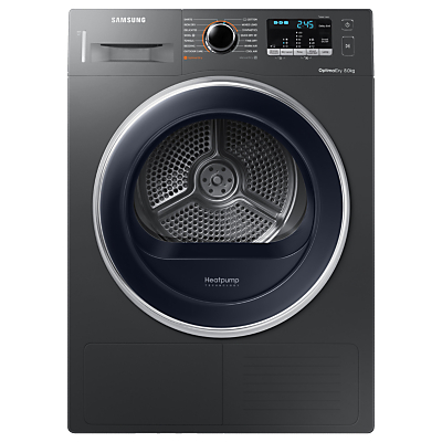 Samsung DV80M5013QX/EU Freestanding Heat Pump Condenser Tumble Dryer, 8kg Load, A++ Energy Rating, Graphite