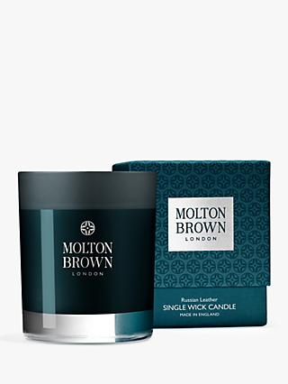 Molton Brown Russian Leather Single Wick Scented Candle, 180g